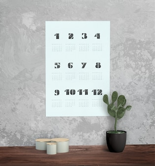 Decorativo mock up calendario sul muro