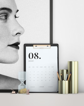 Decorative mock up minimalistic calendar