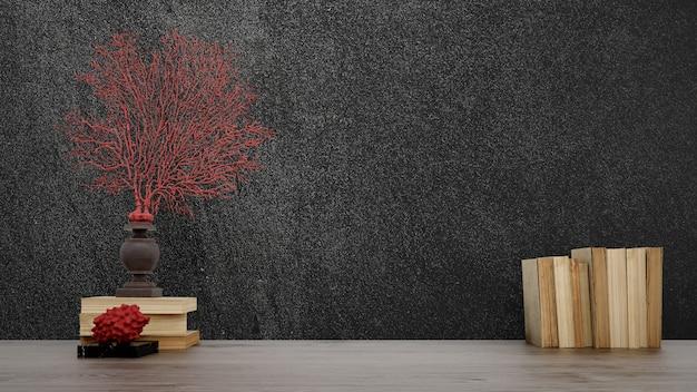 검은 벽, 일본식 장식 개체, 오래 된 책과 화병.
