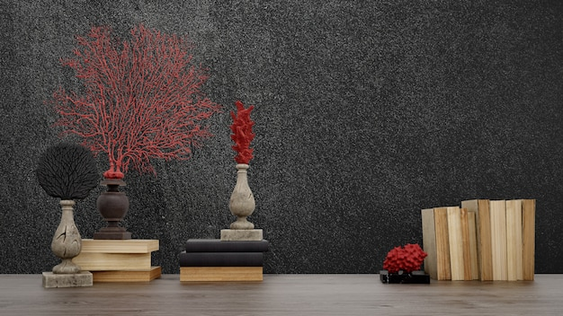 Decorative objects, old books and vases over black wall, japanese style.