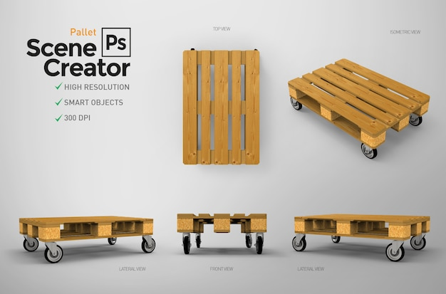 Decorative pallet with wheels. scene creator.   resource.