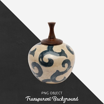 Decorative patterned ceramic object with lid on transparent