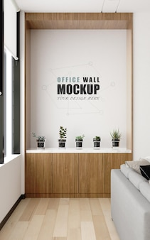 A decorative place in the management room wall mockup