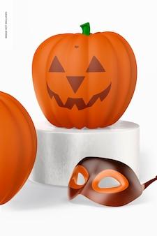 Decorative pumpkin on podium mockup