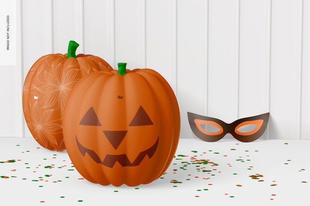 Decorative pumpkins with mask mockup