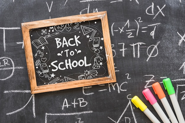 Decorative slate mockup with back to school concept