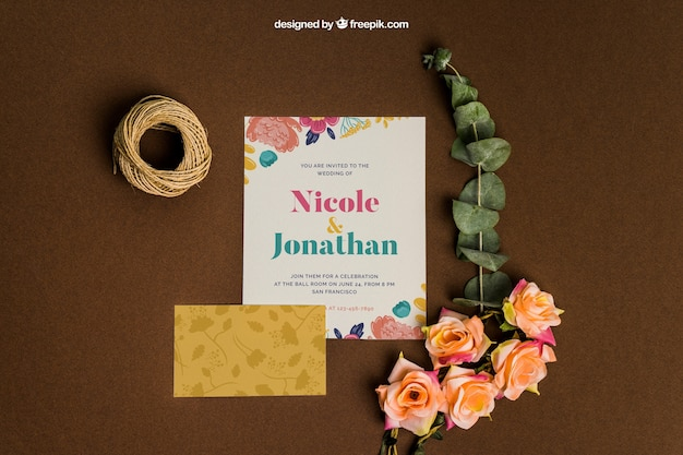 Decorative stationery wedding mockup