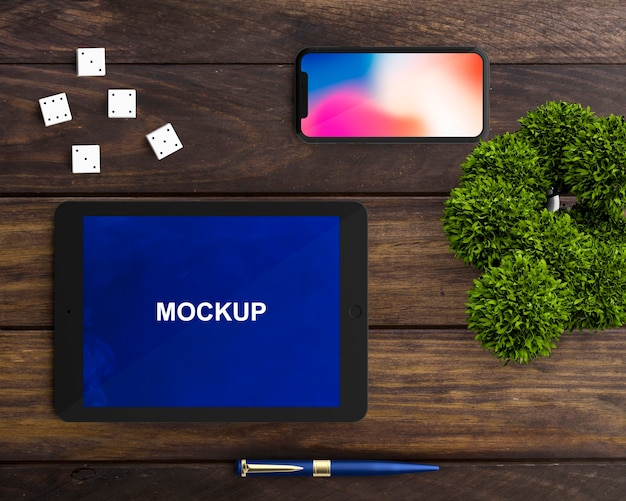 Decorative tablet and smartphone mockup