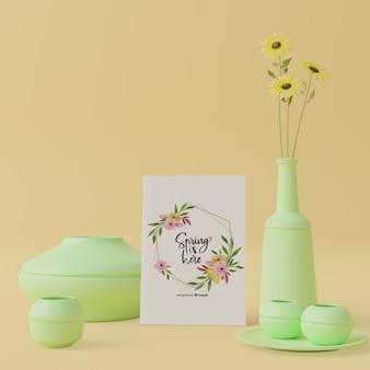 テーブルの上の春のカードと3 dコンセプトの装飾的なつぼ