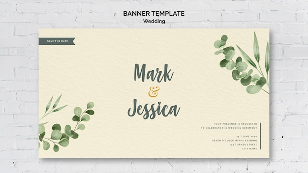 Decorative wedding banner template
