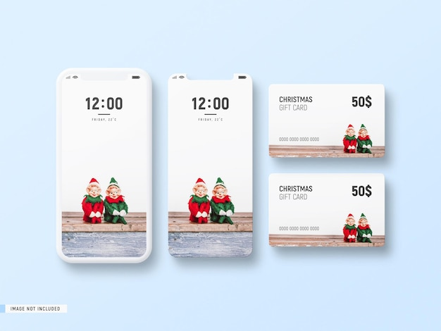 Decorative white minimal phone screen and christmas gift card mockup