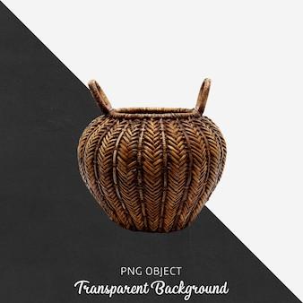 Decorative wicker basket on transparent