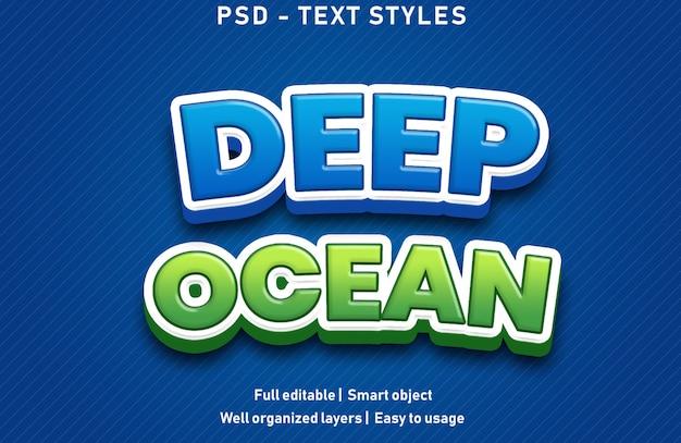 Глубокий океан текстовые эффекты стиль редактируемые psd