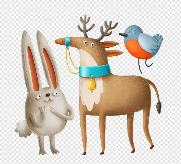 Персонажи олень, заяц и снегирь