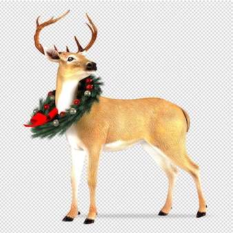 Deer with wreath christmas in 3d rendered