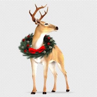 Олень с рождественским венком в 3d визуализации