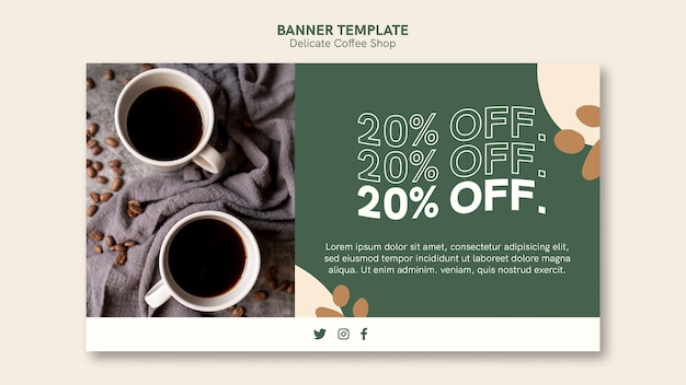 Delicate coffee shop banner design