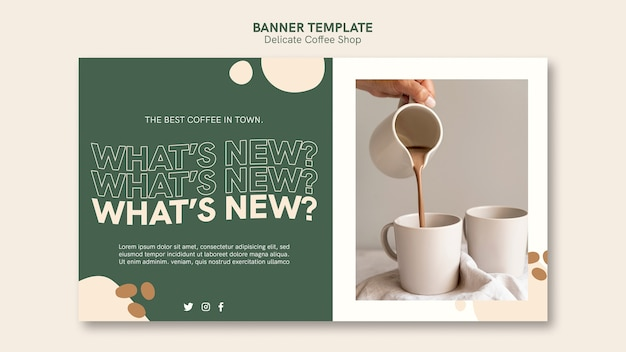 Delicate coffee shop banner template