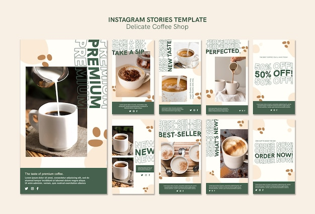 Delicate storie da instagram di coffee shop