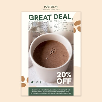 Delicate coffee shop poster with discount