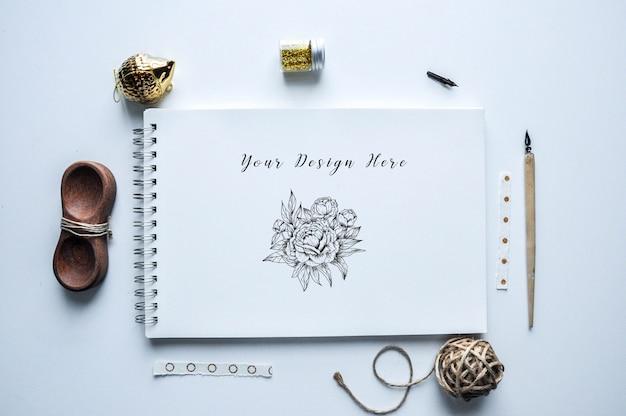 Delicate sketch book mock up