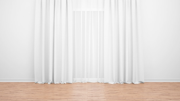 Delicate white curtains, white wall and wooden floor. empty room as background