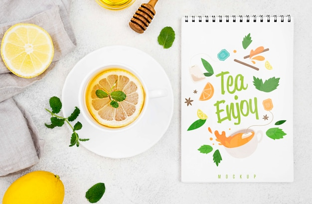 Delicious aromatic tea concept mock-up