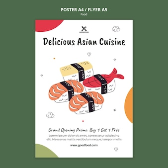 Delicious asian cuisine poster template