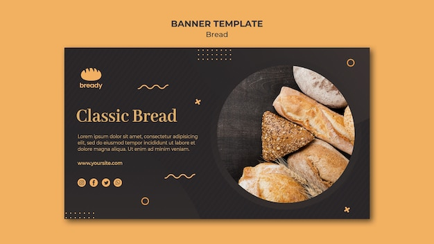 Delicious bakery shop banner template