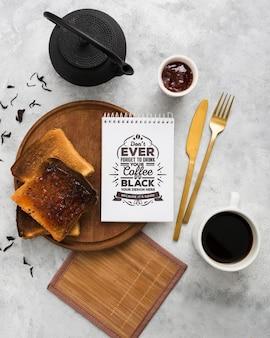 Delicious breakfast concept mock-up