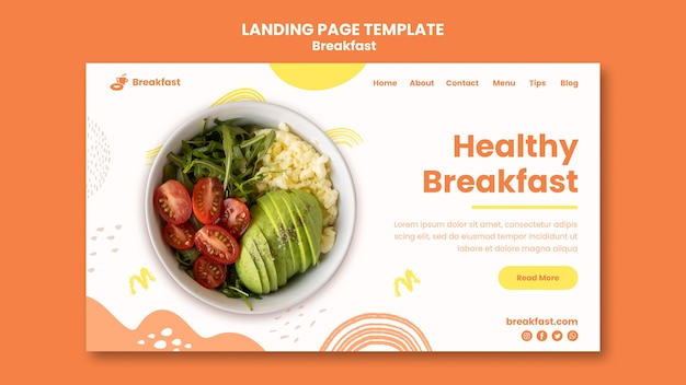 Delicious breakfast landing page template