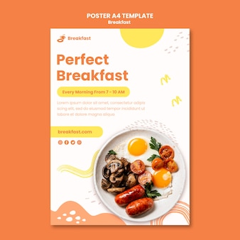 Delicious breakfast poster template