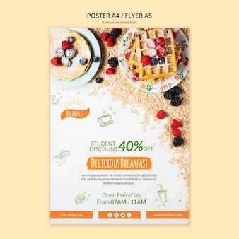 Delicious breakfast restaurant poster template