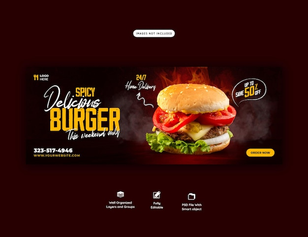 おいしいハンバーガーとフードメニューのfacebookカバーテンプレート