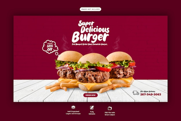 Вкусный гамбургер и еда меню веб-баннер шаблон