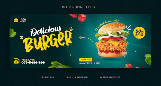 Delicious burger and food menu facebook cover template free