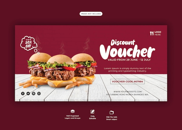 Delicious burger and food menu gift voucher template