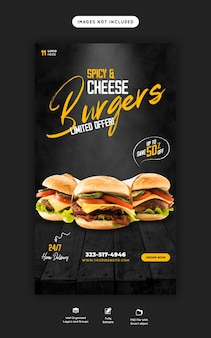Delicious burger and food menu instagram and facebook story template