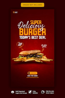 Delicious burger and food menu instagram story template
