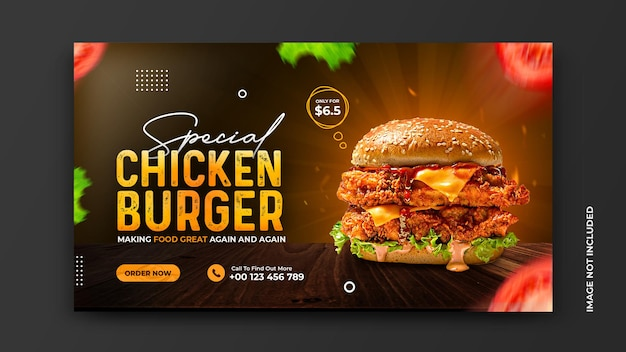 Delicious burger and and food menu restaurant social media banner template free psd
