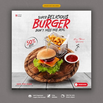 Delicious burger and food menu social media banner template