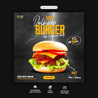 Delicious burger and food menu social media banner template