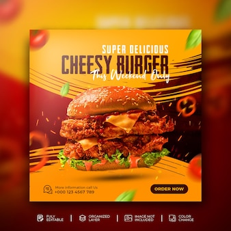 Delicious burger and food menu social media promotion square banner template free psd