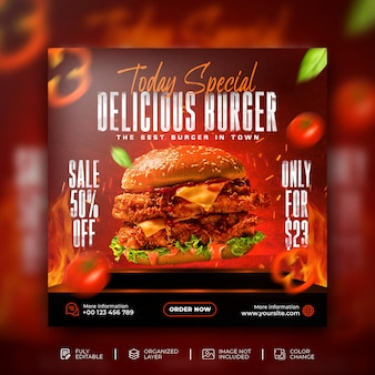 Delicious burger food menu web banner and social media promotion instagram post template