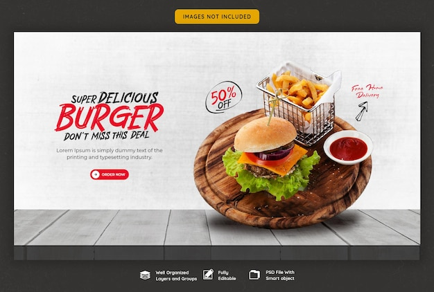 Delicious burger and food menu web banner template