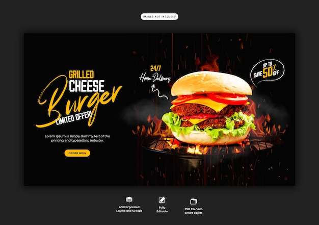 Modello di banner web delizioso menu di cibo e hamburger