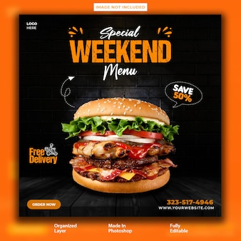 Delicious burger instagram promotional post design