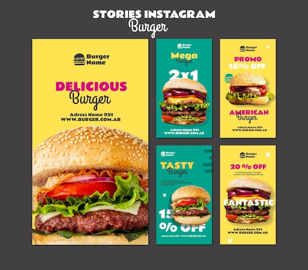 Delicious burger instagram stories web template