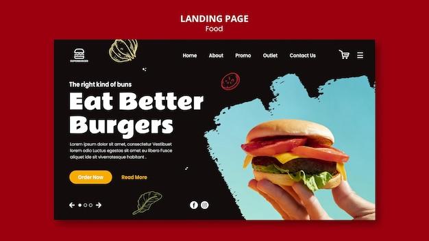 Целевая страница вкусного бургера Бесплатные Psd