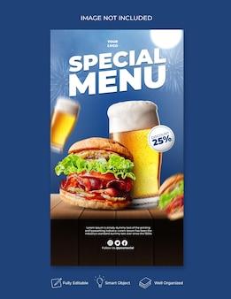 Delicious burger menu instagram and social media story template